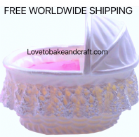 Crib mold,  Cot  mold, Bassinet mold.  Sugarpaste baby, free worldwide shipping. (1)